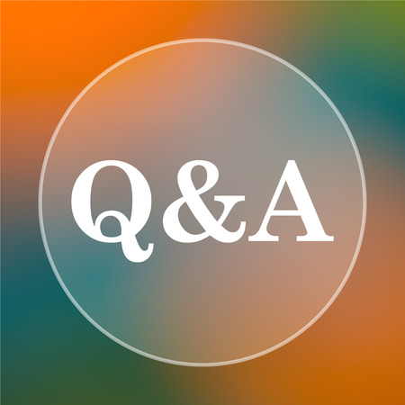 qa: Q&A icon. Internet button on colored  background.