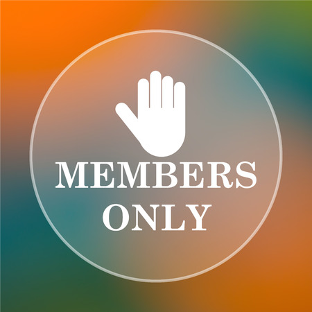 Members only icon. Internet button on colored  background. photo