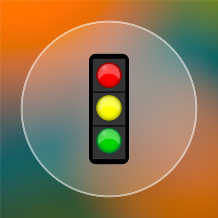 regulate: Traffic light icon. Internet button on colored  background. Stock Photo