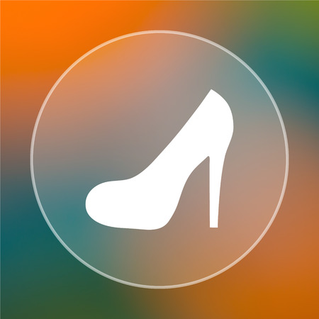 High heel icon. Internet button on colored  background. photo