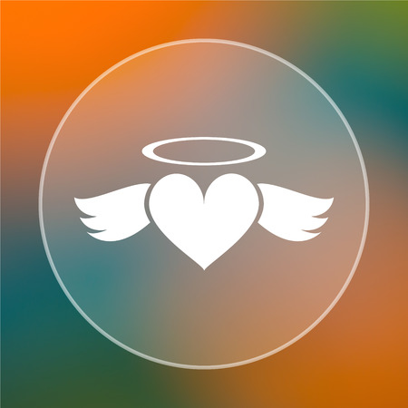 Heart angel icon. Internet button on colored  background. photo