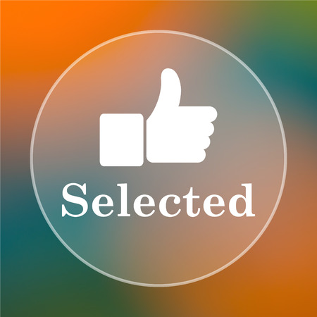 selected: Selected icon. Internet button on colored  background. Stock Photo