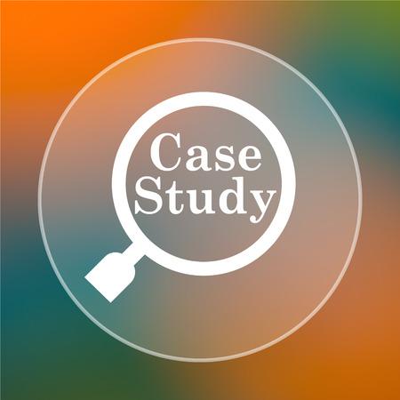 study icon: Icono Estudio de caso. Bot�n de Internet en el fondo de color.