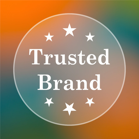 trusted: Trusted brand icon. Internet button on colored  background. Stock Photo