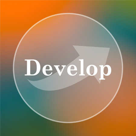 develop: Develop icon. Internet button on colored  background. Stock Photo