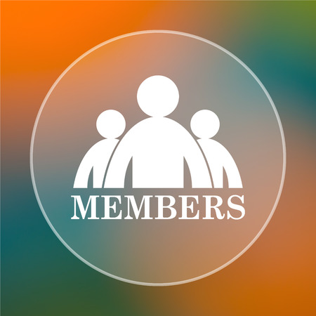 join here: Members icon. Internet button on colored  background.