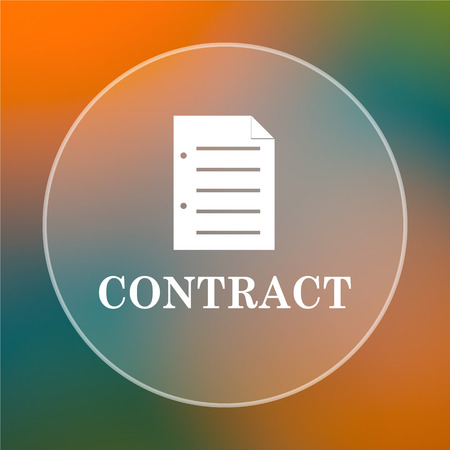contraction: Contract icon. Internet button on colored  background.