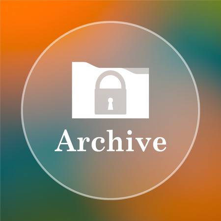 archiving: Archive icon. Internet button on colored  background.