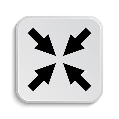 minimize: Exit full screen icon. Internet button on white  background. Stock Photo