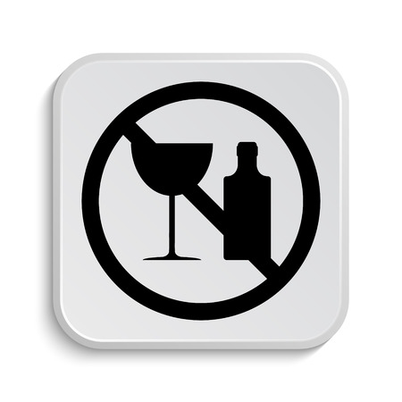 harm: No alcohol icon. Internet button on white  background.