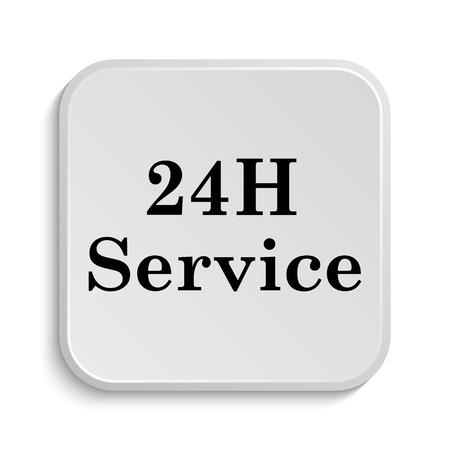 twenty four hours: 24H Service icon. Internet button on white  background.