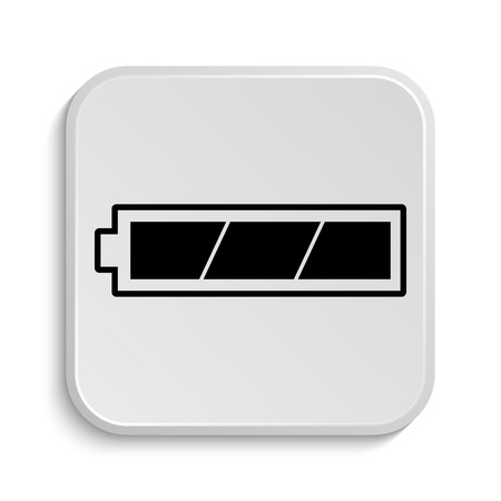 charged: Fully charged battery icon. Internet button on white  background.