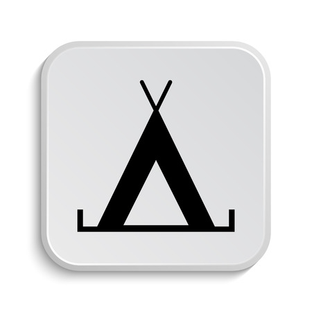 3d bungalow: Tent icon. Internet button on white  background.