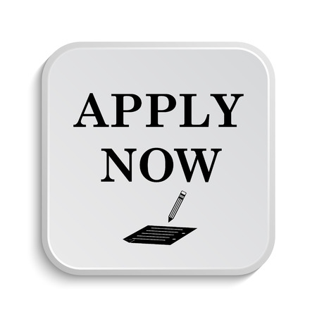 apply now: Apply now icon. Internet button on white  background. Stock Photo