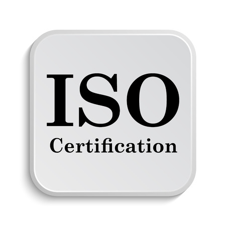 certification: ISO certification icon. Internet button on white  background. Stock Photo