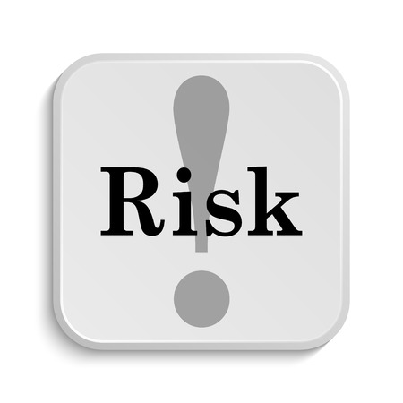 risk warning: Risk icon. Internet button on white  background. Stock Photo