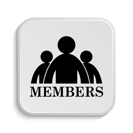 members: Members icon. Internet button on white  background.