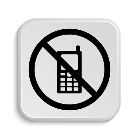 restricted icon: Mobile phone restricted icon. Internet button on white  background. Stock Photo