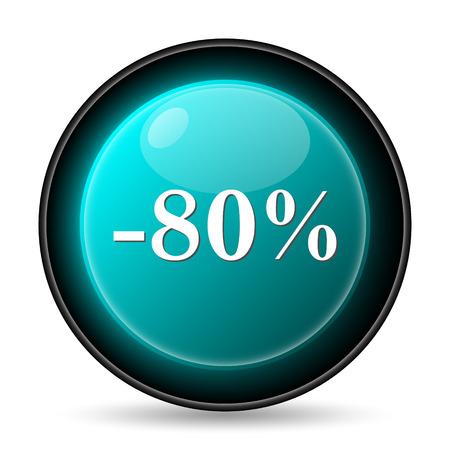 80 percent discount icon. Internet button on white background. photo