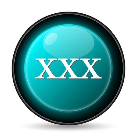 pornografia: icono xxx. Bot�n de internet sobre fondo blanco.