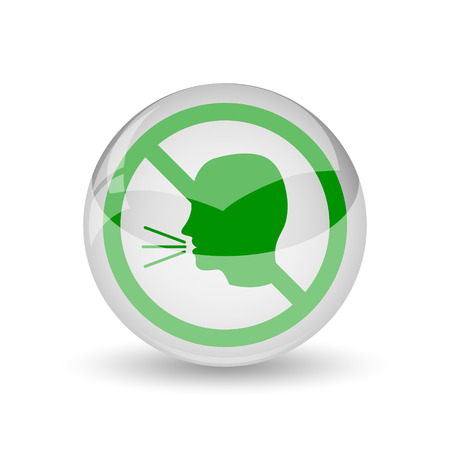 loudly: No talking icon. Internet button on white background.