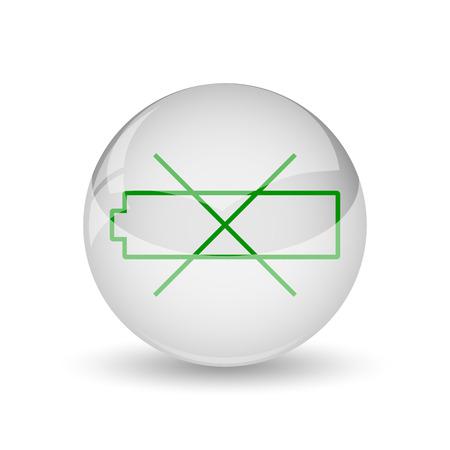 Empty battery icon. Internet button on white background. photo