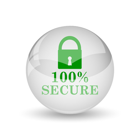 trusty: 100 percent secure icon. Internet button on white background. Stock Photo
