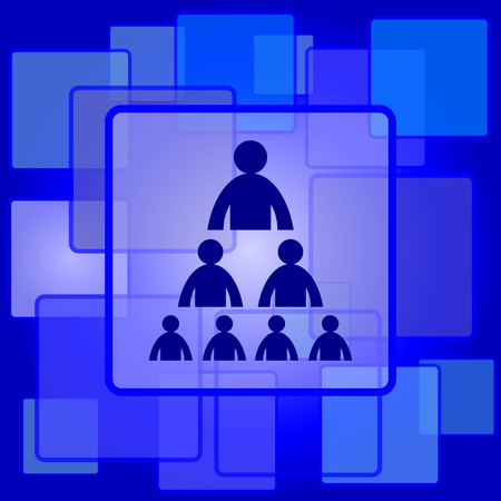 Organizational chart with people icon. Internet button on abstract background. Vector