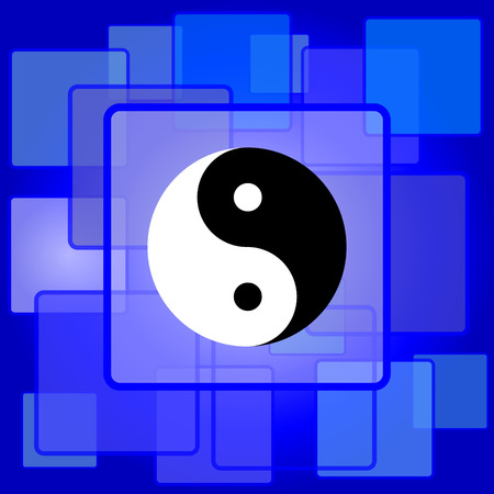 karma concept: Ying yang icon. Internet button on abstract background. Illustration