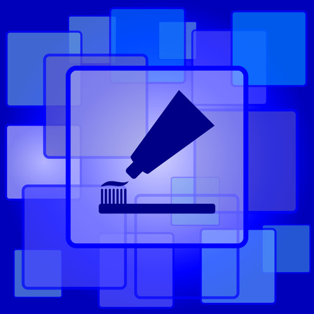 Tandpasta en borstel icoon. Internet knop op abstracte achtergrond.