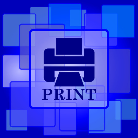 Printer with word PRINT icon. Internet button on abstract background. Vector