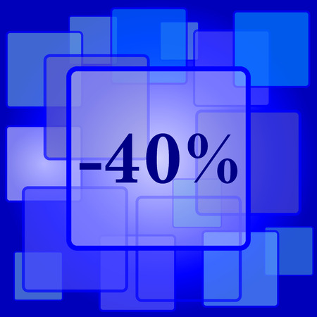 40: 40 percent discount icon. Internet button on abstract background.