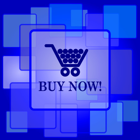Buy now shopping cart icon. Internet button on abstract background. Vector