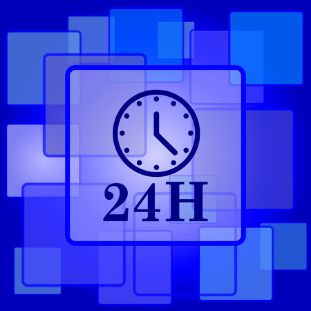 24H clock icon. Internet button on abstract background. Vector