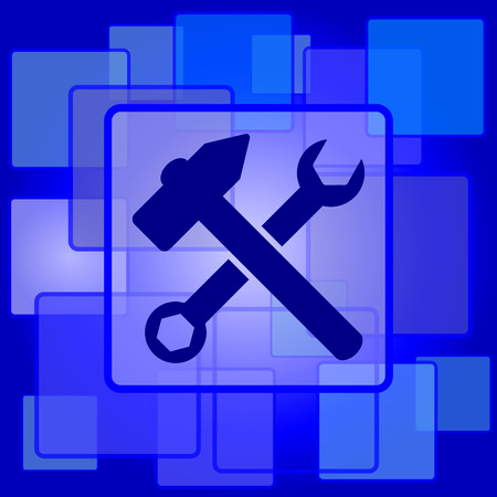 fitter: Tools  icon. Internet button on abstract background.