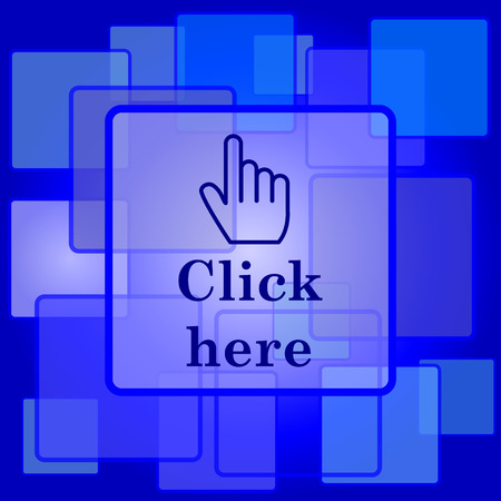 Click here icon. Internet button on abstract background. Vector