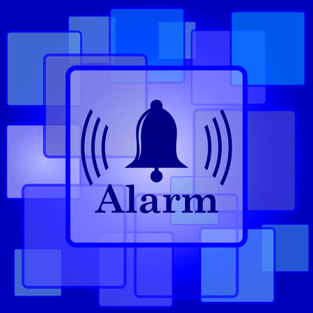 Alarm icon. Internet button on abstract background. Vector