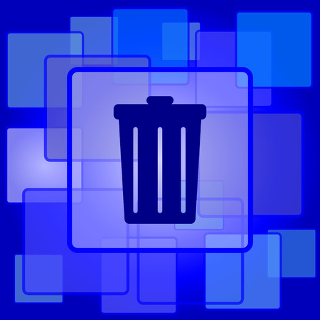 dumping: Bin icon. Internet button on abstract background. Illustration