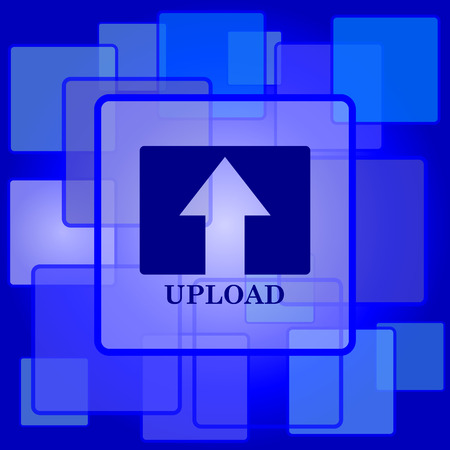 Upload icon. Internet button on abstract background. Vector