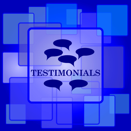 authenticate: Testimonials icon. Internet button on abstract background.