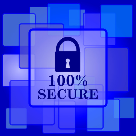 trusty: 100 percent secure icon. Internet button on abstract .