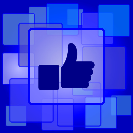 Thumb up icon. Internet button on abstract background. Vector