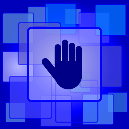 restrictive: Stop icon. Internet button on abstract background.