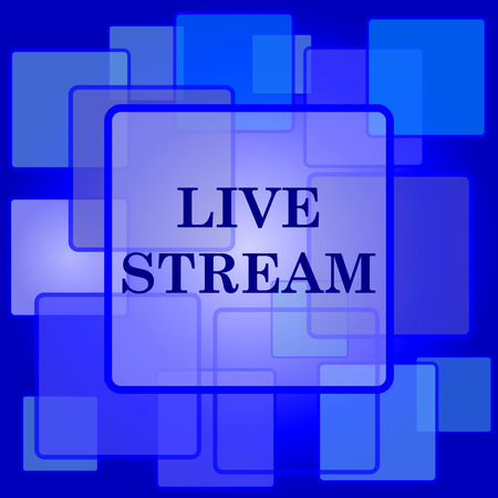 news cast: Live stream icon. Internet button on abstract background.