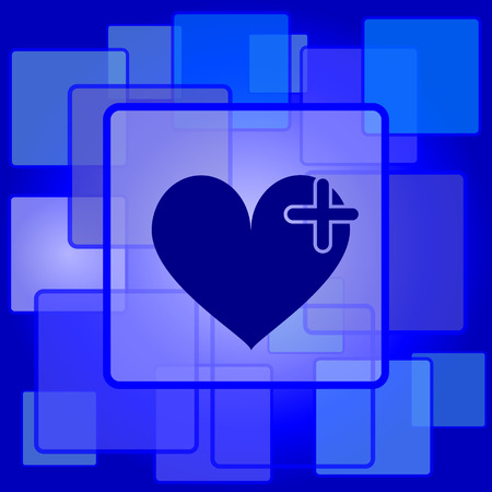 Heart with cross icon. Internet button on abstract background. Vector