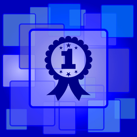 first prize: First prize ribbon icon. Internet button on abstract background.