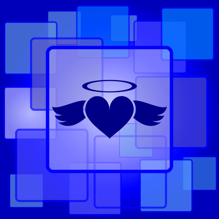 Heart angel icon. Internet button on abstract background. Vector