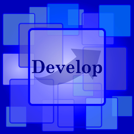 develop: Develop icon. Internet button on abstract background. Illustration