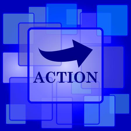 activism: Icono de acci�n. Bot�n de internet sobre un fondo abstracto.