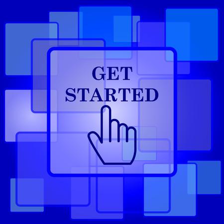 Aan de slag icoon. Internet-knop op abstracte achtergrond.